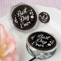 Best Day Ever Silver Metal Compact Mirror